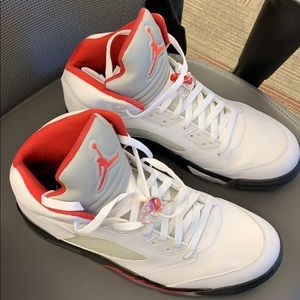 Jordan 5 white, red, black